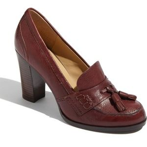 Nine West Nobleman Burgundy Loafer Leather Pump